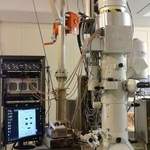 Picture of transmission electron miroscope and control panel.