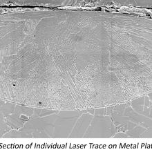 Trhree image banner showing testbed, cross section of a laser trace, and the build geometry used