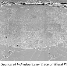 Banner images of AM testbed, cross section of a laser trace on metal and the build geometry
