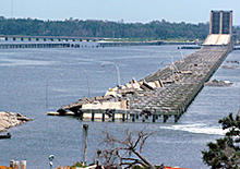Shown above is a bridge in Mississippi destroyed by Hurricane Katrina.