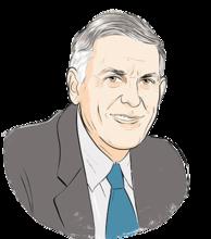 Illustration portrait of Dan Shechtman (transparent background)