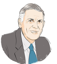 Illustration portrait of Dan Shechtman (transparent background)