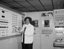 Mary Jackson working in lab.