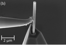 Gallium nitride nanowire being mounted onto an atomic force microscopy tip with a micromanipulator in a NIST focused ion beam tool.