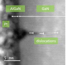 Dislocations formed to relieve stress when an AlGaN shell is grown around a GaN nanowire as revealed by  scanning transmission electron microscopy (STEM) annular dark field imaging.  Note that the dislocations form during AlGaN growth and penetrate into t