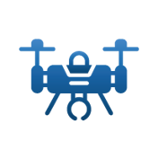 blue icon of a drone