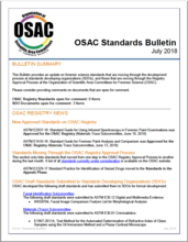 OSAC Standards Bulletin, July 2018