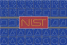 From left to right, each figure shows the configuration after each atom move. Image size 15 nm × 15 nm.  Center: Perfect assembly of the NIST logo after four steps of automated assembly. Image size 40 nm × 17 nm.