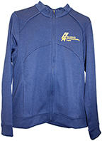 Womens Eversole Run Full Zip Interlock Outer Shell Jacket dark blue with gold logo