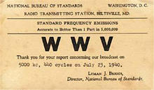 WWV Maryland QSL card