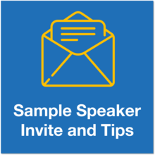 sample speaker invite and tips icon