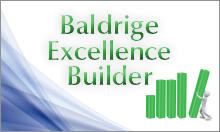 Baldrige Excellence Builder booklet cover showing a cartoon figure pushing up a bar in a graph chart.