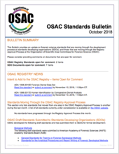 OSAC Standards Bulletin, October 2018