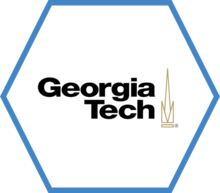 A hexagon outlined in blue with the Georgia Tech logo in the center.