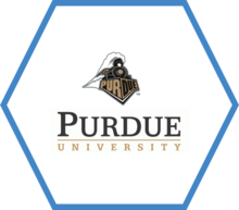 Blue hexagon with the Purdue University logo in the center