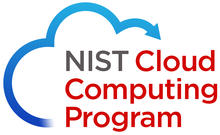 Logo that says NIST Cloud Computing Program and has a half blue cloud