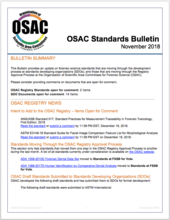 OSAC Standards Bulletin, November 2018