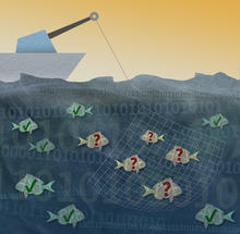 illustration with boat on water. Under the water there are fish. Some have green checkmarks and some have red question marks. All but one of the red question mark fish are caught in a net