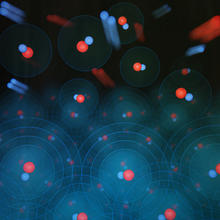 Diffuse image of molecules flying through space, with each molecule made of one reddish sphere connected to a smaller blue sphere