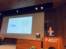 JP Jones, OSAC Program Manager, giving opening remarks during the June OSAC Public Update and Open Discussions Meeting