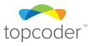"""Logo with the colors blue, green, yellow and orange, in a arc above the text """"topcoder"""""""