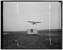 image of a Curtiss Fledgling airplane coming in for a landing