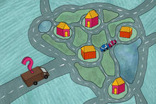 a delivery truck with a question mark hovering over it sits parked near a group of houses as the driver tries to figure out the optimal route to make deliveries. There are a pair of crashed cars near the center of the graphic to illustrate that optimization problems like this are hard to solve.