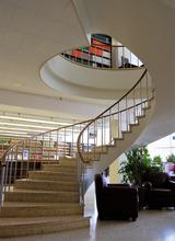 spiral staircase in the NIST Research Library
