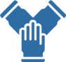 icon of three hands touching to indicate collaboration