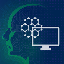 An illustration for AI shows a silhouette of a human head containing icons for computer networks.