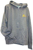 Gray hooded full-zip pouch pockets sweatshirt with Baldrige Logo