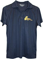 EV Women's Run Golf Shirt short sleeve dark blue with Baldrige logo.