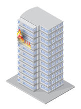 Graphic showing high-rise fire