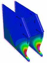 Finite element model of a gusset-plate corner after applied loading that resulted in buckling of the plate.