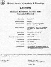 Certificate for modern radium-226 solution Standard Reference Material