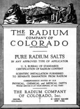 Certificate from Radium Company of Colorado