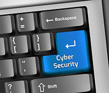 cybersecurity on keyboard