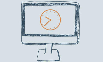hand drawn image of a computer monitor with a clock on it