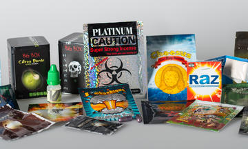 Synthetic drugs in brightly colored packaging