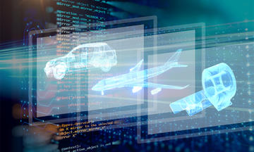 Composite illustration showing software code, a car, an airplane, and an MRI machine