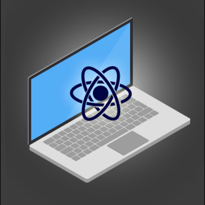 graphic of a laptop with an atom hovering above the keyboard