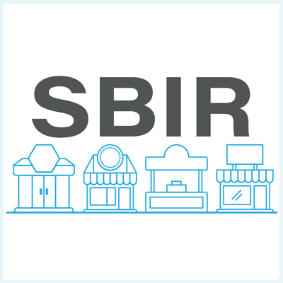 image showing the letters SBIR with some building icons underneath