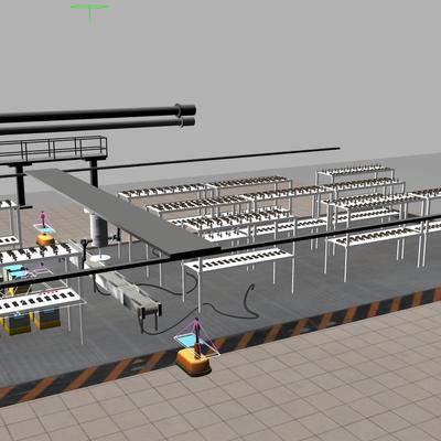 An overview image of the environment for ARIAC 2020 showing the bins, conveyor belt, shelves, and new robot