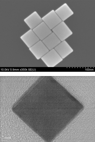 These electron microscope images show perfect-edged nanocubes produced in a one-step process created at NIST that allows careful control of the cubes' size, shape and composition.