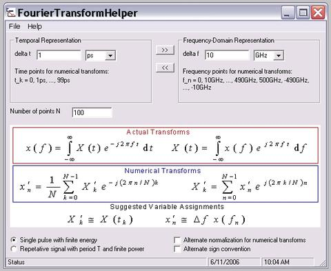 Front panel of the Fourier Transform sortware