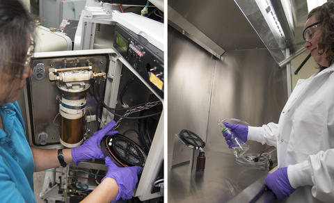 "Li-Piin Sung places a commercially available polymer with silicon dioxide nanoparticles into a chamber of the NIST SPHERE. Deborah Jacobs applies ""NIST simulated rain"" to the weathered sample to collect any shed nanoparticles in the runoff."