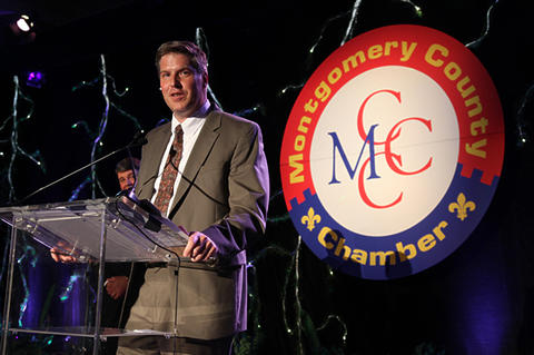 NIST Director Patrick Gallagher accepting the Visionary Award from the Montgomery County Chamber of Commerce.