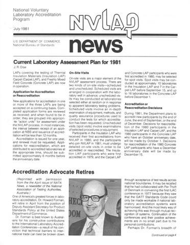 July 1981 NVLAP News