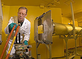 NIST scientist David Jacobson prepares an experimental fuel cell for real-time imaging