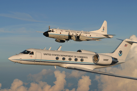 "WP-3D Orion ""hurricane hunter"" aircraft and Gulfstream-IV hurricane surveillance jet."